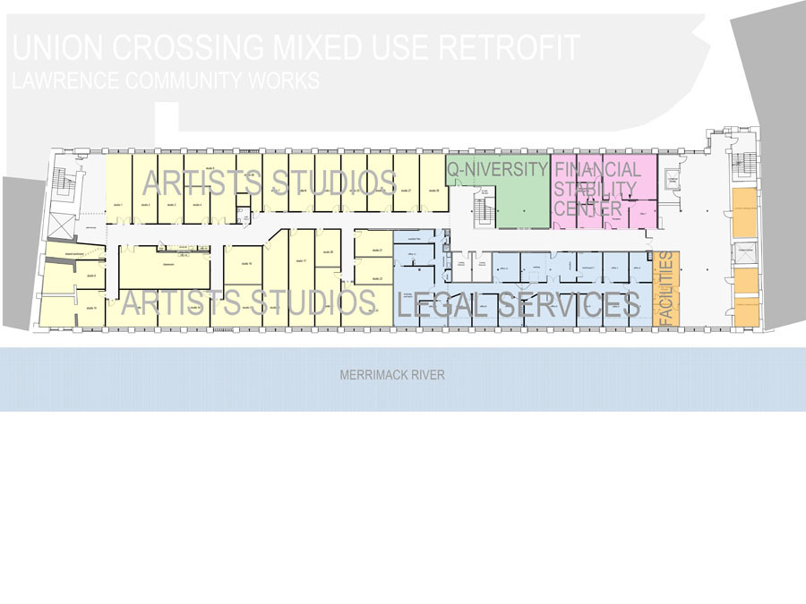 Floor plan showing program layout in the LCW Union Crossing.