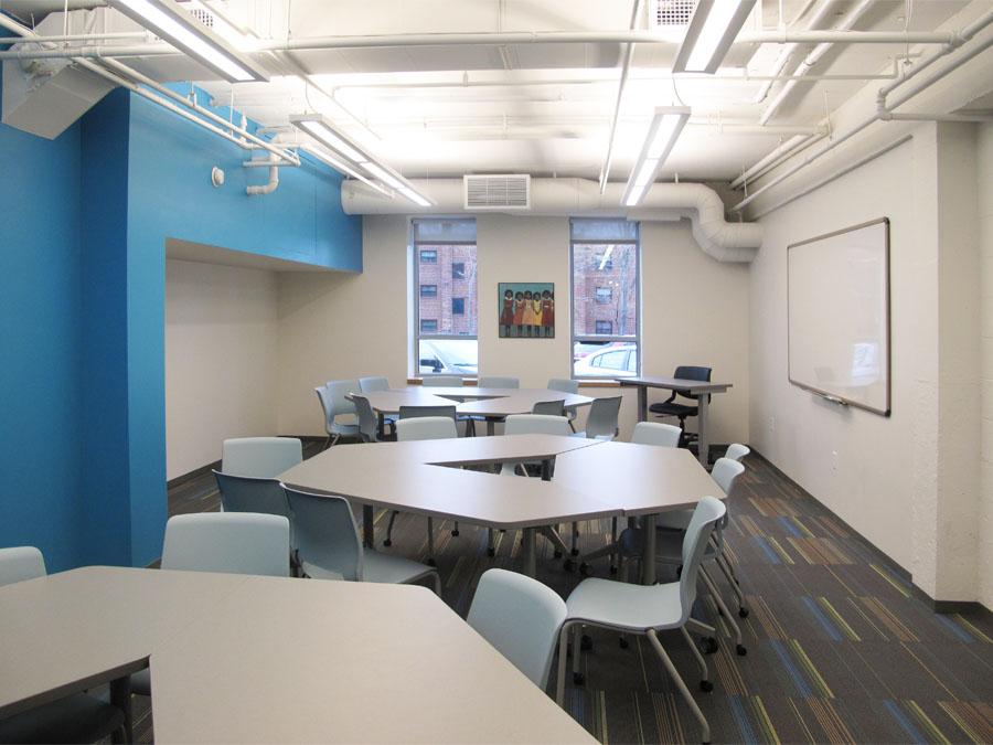 Community center design for the blue room at the Lena Park community center.