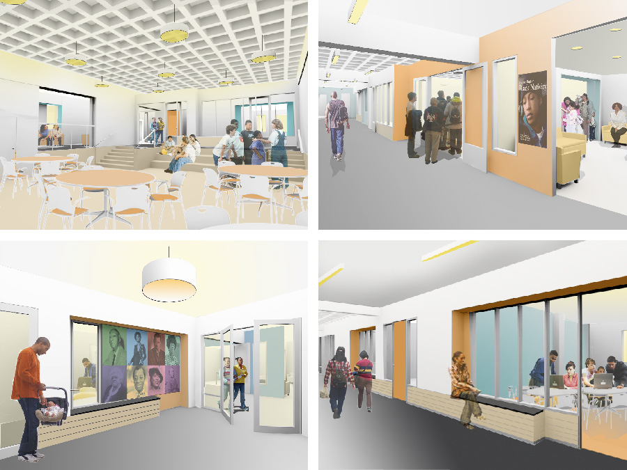 Community Design interior renderings for the Lena Park Community Center.