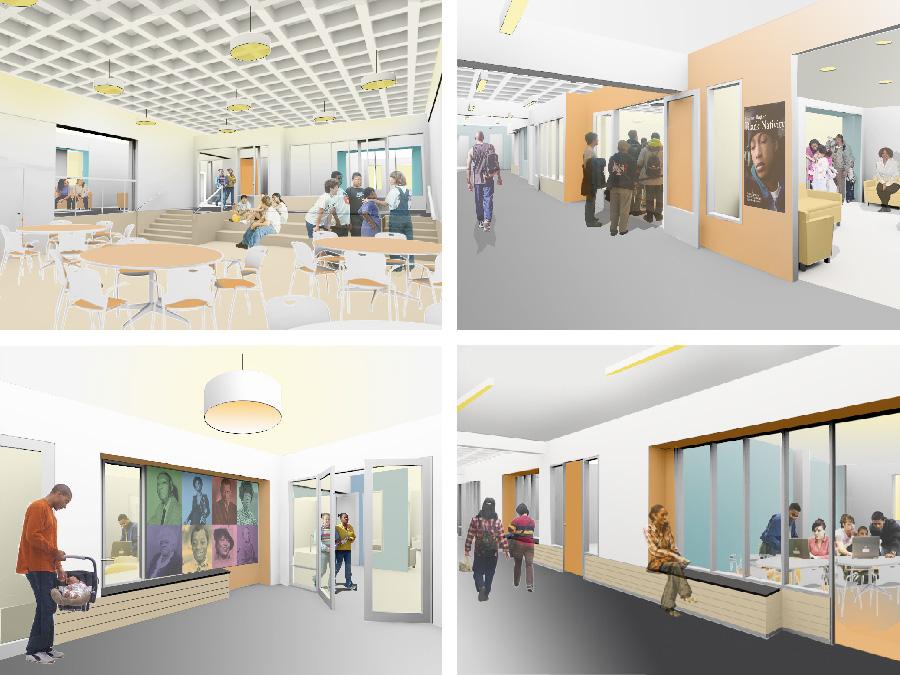 Community Design interior renderings for the Lena Park Community Center.