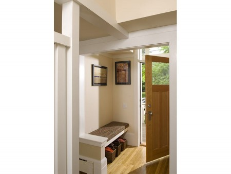 The welcoming entryway of the Jamaica Plain house.