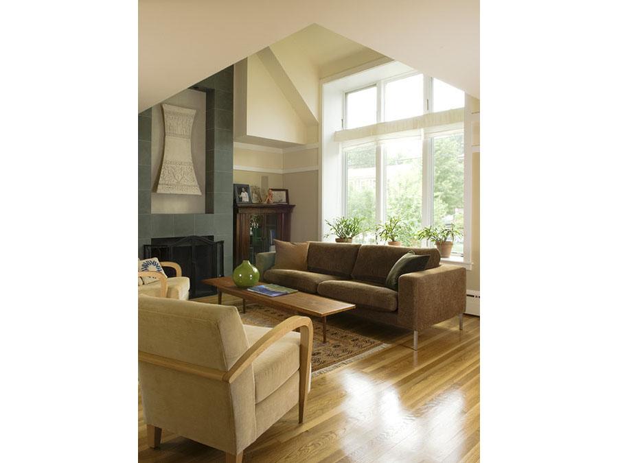 The sunny living room of the Jamaica Plain house.