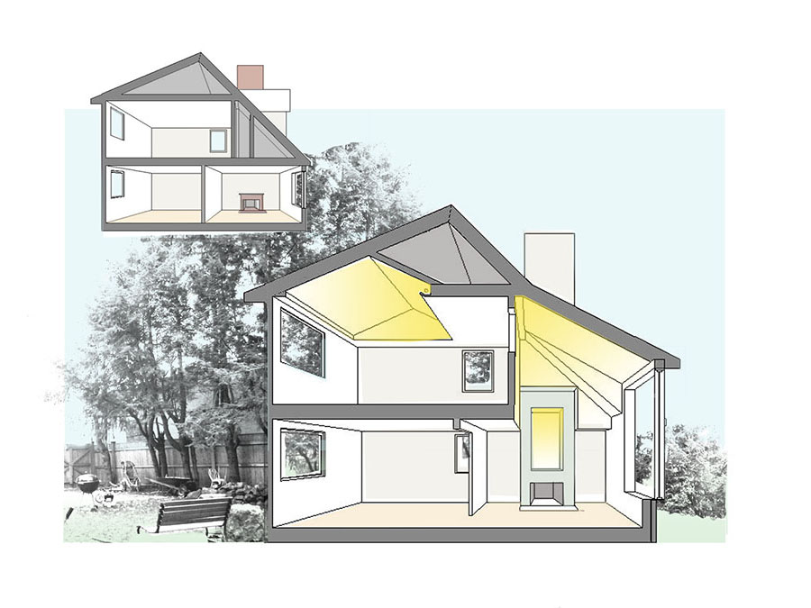 Green home and accessible renovations in section at the Jamaica Plain house.