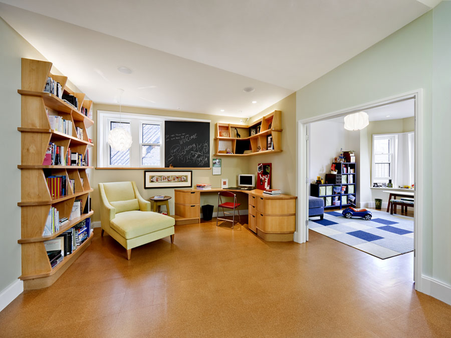 Home office design in the Back Bay town house.