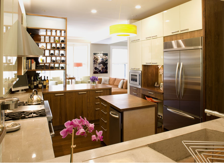 Kitchen design with island in the Back Bay town house.
