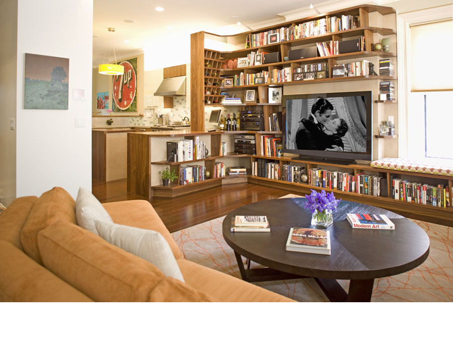 Home design with built-in shelves in the Back Bay town house.