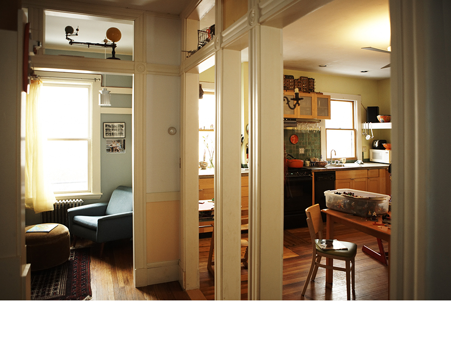 Home design links rooms together in the Cambridgeport home.