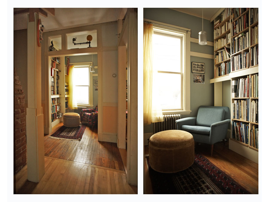 Home office design at work in the cozy study of the Cambridgeport house.