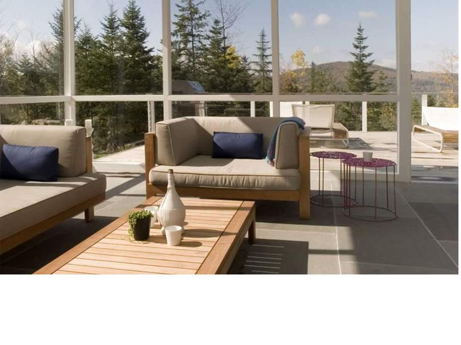 Passive solar heating creates a bright sunroom.