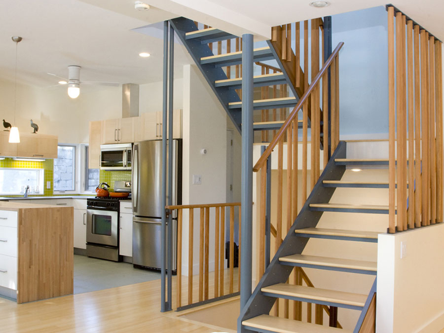 Green home design creates an open, light filled interior.