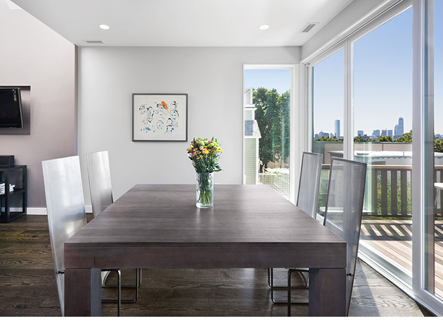 Home design creates dining room views in the Somerville house.