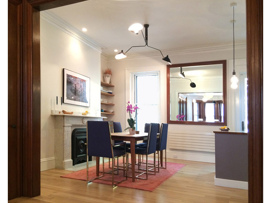 Contemporary dining room in the South End Row house.