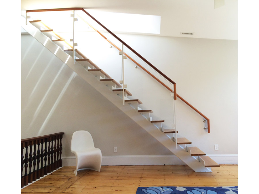 Sunny stairs in the Back Bay rowhouse.