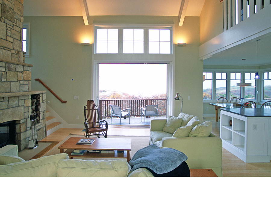 Green home design brings natural light into the Cape Cod house.
