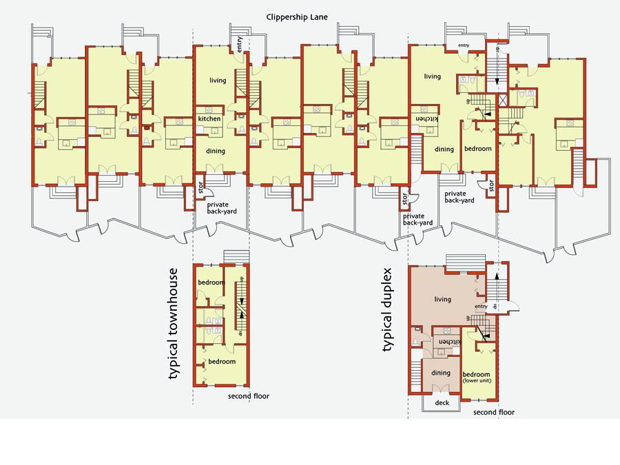 Community design process generated floor plans for the Clippership family housing.