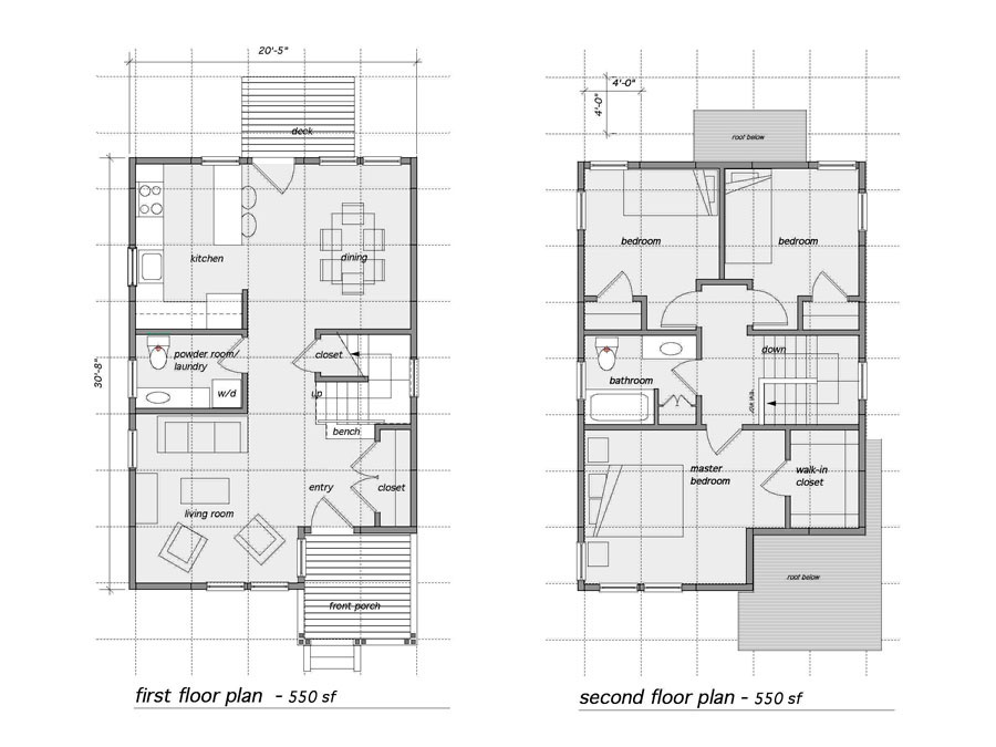 Home design floor plans for the Green Panels prototype.
