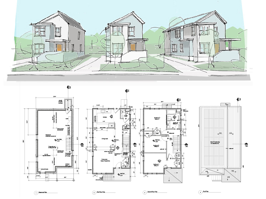 Affordable Housing design plans and sketch renderings for Union Crossing.