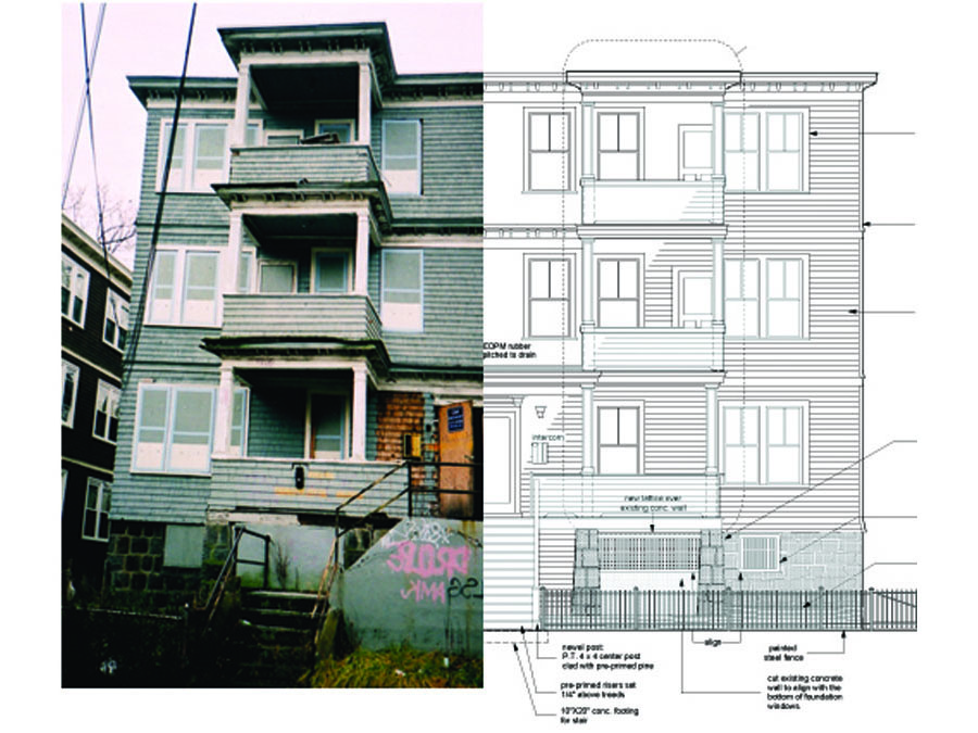 The house as it existed before renovation, and our elevation.