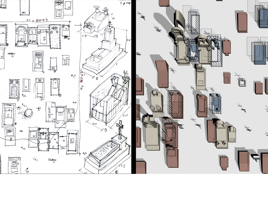 Plan views and sketch studies of Mexican graves.