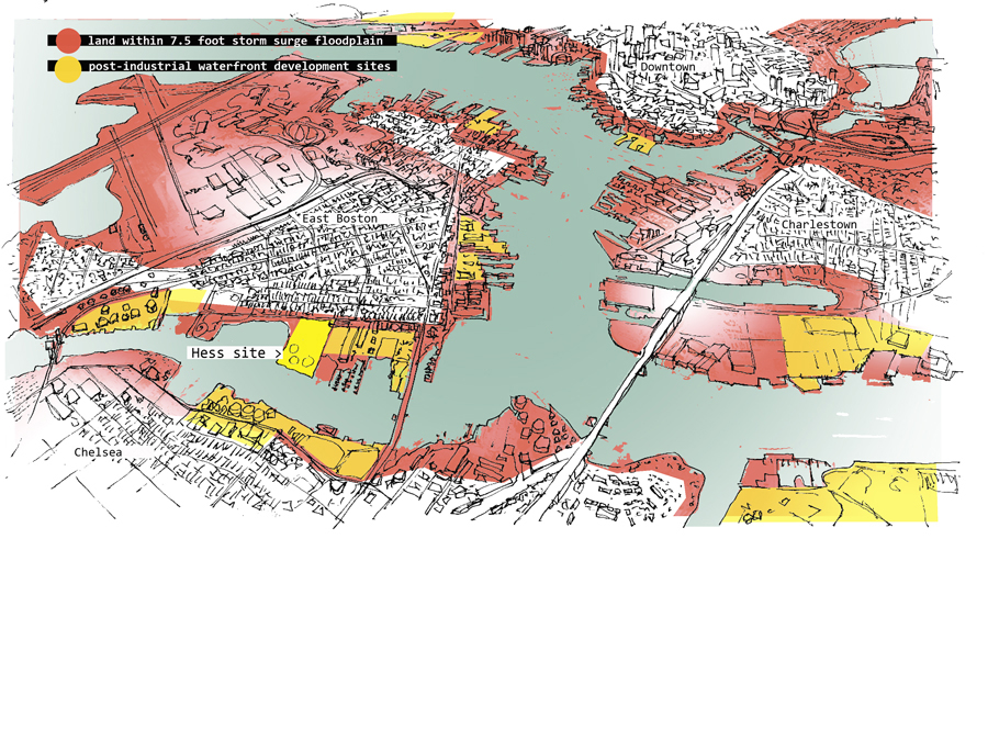 Storm surge threatened areas and post industrial waterfront.