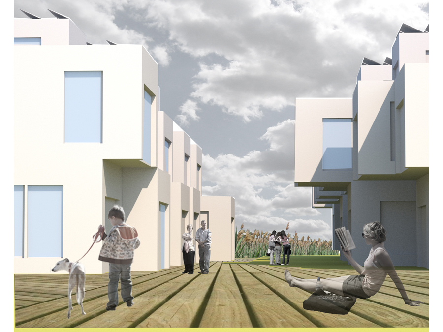 Ground level perspective of the ReGen Boston community design.