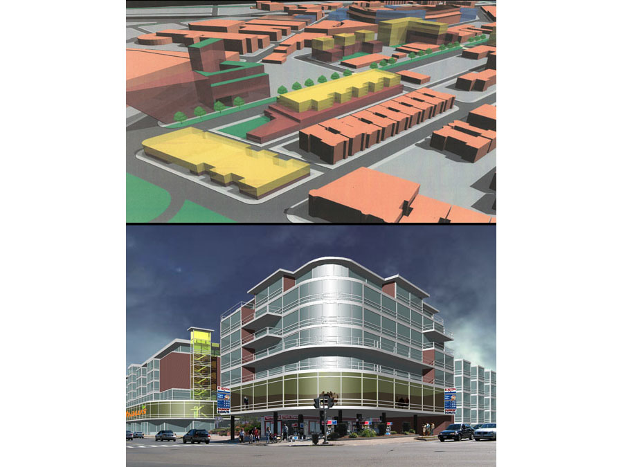 Model and rendering of the community design for the Fenway Urban Village.