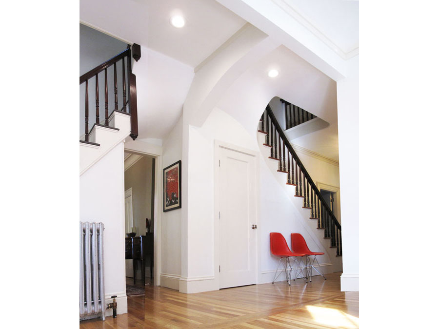 Multiple stairs at work in this home renovation.