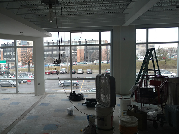 View out of our non-profit office space in progress.
