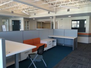 Open office plan in a Cambridge, MA non-profit office