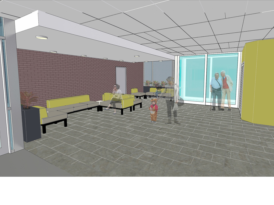 Boston affordable housing interior lobby space perspective view