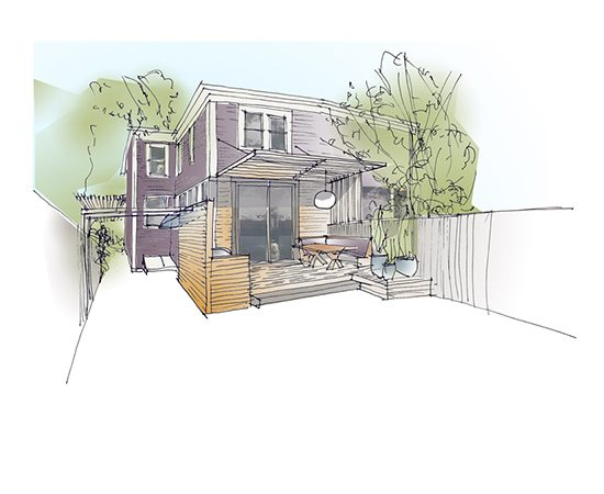 Cambridge green home design rendering.