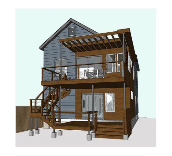 Cambridge home render for future deck