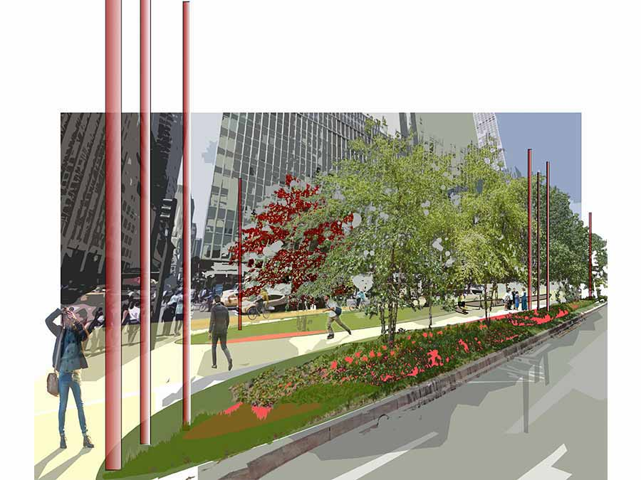 PARKs Avenue centerline competition green space and walkway diagram