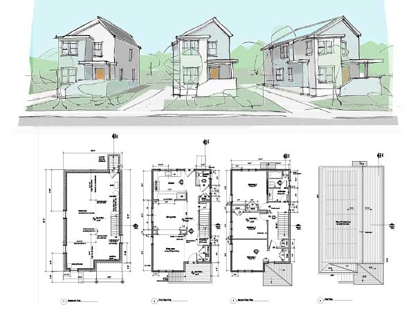 Union and Milford Street floor plans with Schematic design sketch