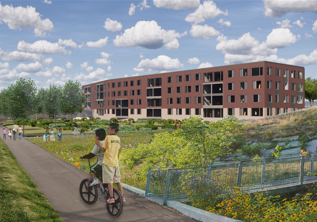 Lawrence Community Works Park Island housing render